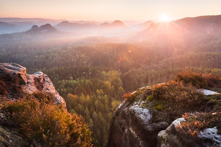 Elbsandstein-001-Sonnenaufgang
